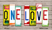 One Love Wood License Plate Art Novelty Metal Magnet