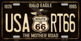 Bald Eagle Route 66 Novelty Metal License Plate