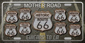 Route 66 Black Top Novelty Metal License Plate