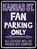 Kansas State Metal Novelty Parking Sign