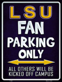 LSU Metal Novelty Parking Sign