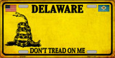 Delaware Don't Tread On Me Novelty Metal License Plate