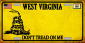 West Virginia Dont Tread On Me Novelty Metal License Plate