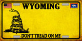 Wyoming Dont Tread On Me Novelty Metal License Plate