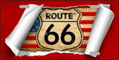 Route 66 Scroll Novelty Metal License Plate