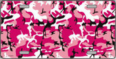 Pink Camouflage Background Metal Novelty License Plate