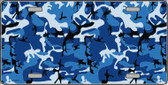 Blue Camouflage Background Metal Novelty License Plate