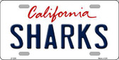 Sharks California Novelty State Background Metal License Plate