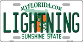 Lightning Florida Novelty State Background Metal License Plate