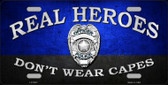 Real Heroes Blue Novelty Metal License Plate