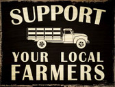 Support Farmers Metal Novelty Parking Sign
