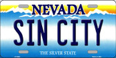 Sin City Nevada Background Novelty Metal License Plate