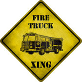 Fire Truck Xing Novelty Metal Crossing Sign
