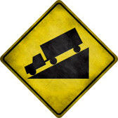 Down Grade Novelty Metal Crossing Sign