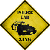 Police Car Xing Novelty Metal Crossing Sign
