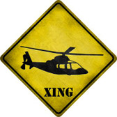 Helicopter Xing Novelty Metal Crossing Sign
