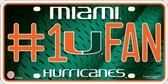 Miami Hurricanes Fan Deluxe Metal Novelty License Plate