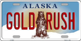 Gold Rush Alaska State Background Novelty Metal License Plate