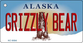 Grizzly Bear Alaska State Background Novelty Key Chain