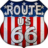 Route 66 American Flag Metal Novelty Highway Shield