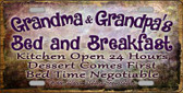 Grandma And Grandpas Bed & Breakfast Novelty Metal License Plate