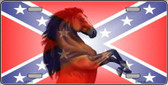 Confederate Flag Stallion Horse Metal Novelty License Plate