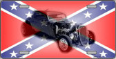 Confederate Flag Hot Rod Metal Novelty License Plate