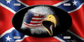 Rebel Flag American Eagle Metal Novelty License Plate
