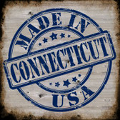 Connecticut Stamp On Wood Novelty Metal Square Sign