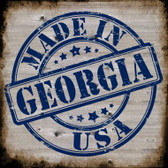 Georgia Stamp On Wood Novelty Metal Square Sign