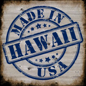 Hawaii Stamp On Wood Novelty Metal Square Sign