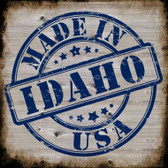 Idaho Stamp On Wood Novelty Metal Square Sign
