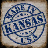 Kansas Stamp On Wood Novelty Metal Square Sign