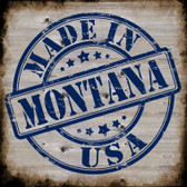 Montana Stamp On Wood Novelty Metal Square Sign