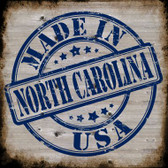 North Carolina Stamp On Wood Novelty Metal Square Sign