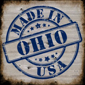 Ohio Stamp On Wood Novelty Metal Square Sign