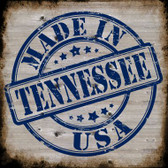 Tennessee Stamp On Wood Novelty Metal Square Sign