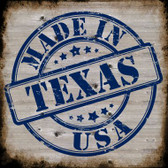 Texas Stamp On Wood Novelty Metal Square Sign