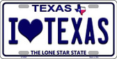 I Love Texas Background Novelty Metal License Plate