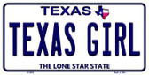 Texas Girl Texas Background Novelty Metal License Plate