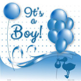 Its A Boy With Balloons Novelty Metal Square Sign