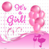 Its A Girl With Balloons Novelty Metal Square Sign