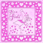 Its A Girl With Stork Novelty Metal Square Sign