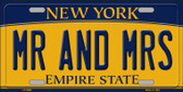 Mr and Mrs New York Background Novelty Metal License Plate