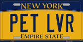 Pet Lvr New York Background Novelty Metal Novelty License Plate