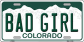 Bad Girl Colorado Background Novelty Metal License Plate