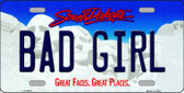Bad Girl South Dakota Background Novelty Metal License Plate
