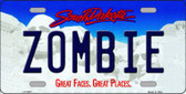 Zombie South Dakota Background Novelty Metal License Plate