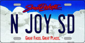 N Joy SD South Dakota Background Novelty Metal License Plate