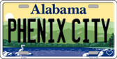 Phenix City Alabama Background Novelty Metal License Plate